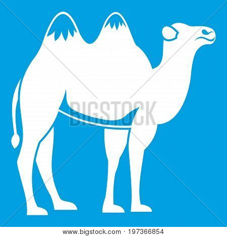 Camel icon white isolated on blue background vector illustration