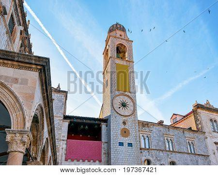 Belfry In Stradun Street In Old Town Dubrovnik