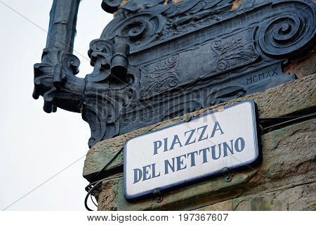 Bologna, Italy - October 20, 2016: Piazza del Nettuno Street sign on the wall in Bologna Italy