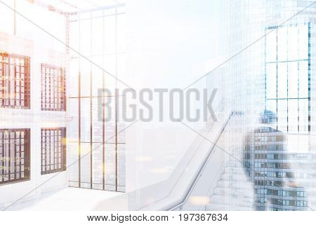White brick office wall with windows a large staircase and a panoramic window. Glass ceiling. Empty office hall. People. Side view. 3d rendering mock up toned image double exposure