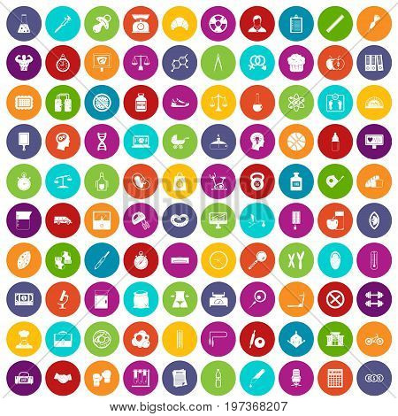 100 libra icons set in different colors circle isolated vector illustration