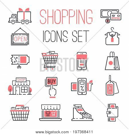 Shopping retail business internet market outline vector icons illustration.. Shipping retail online service package design.
