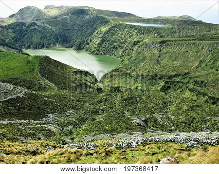 Lagoa Funda and Lagoa Rasa crater lakes, Flores island, The Azores
