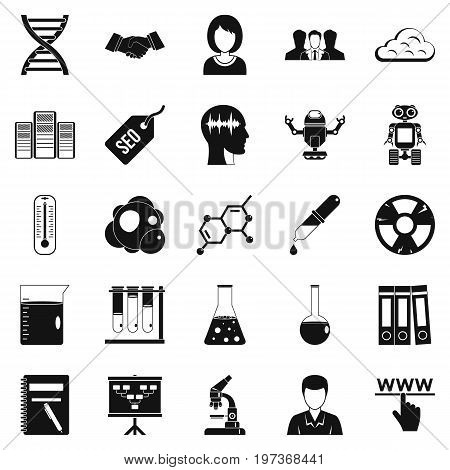 SEO analytics icons set. Simple set of 25 SEO analytics icons for web isolated on white background