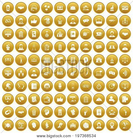 100 coherence icons set in gold circle isolated on white vectr illustration