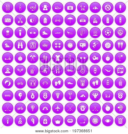 100 active life icons set in purple circle isolated on white vector illustration