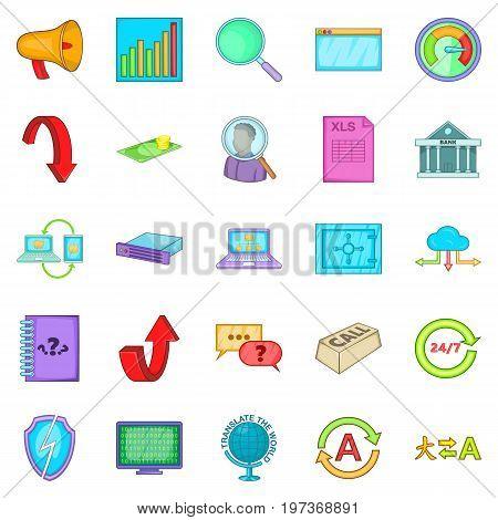 Shipping business icons set. Cartoon set of 25 shipping business icons for web isolated on white background