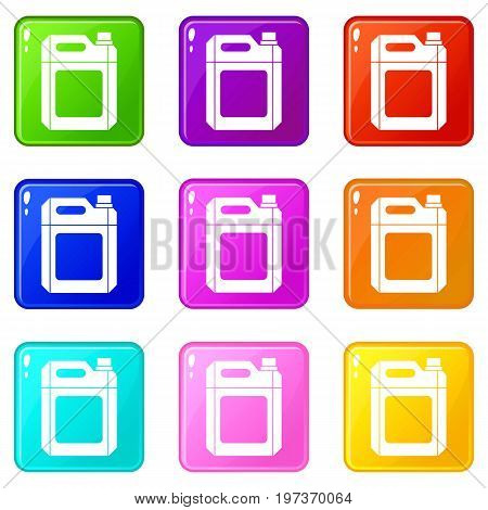 Plastic jerry can icons of 9 color set isolated vector illustration