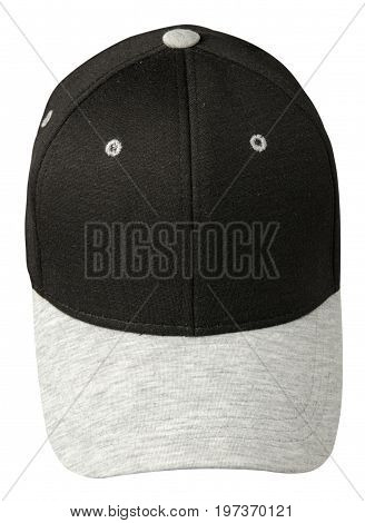 Hat Isolated On White Background.black Hat With Gray Visor