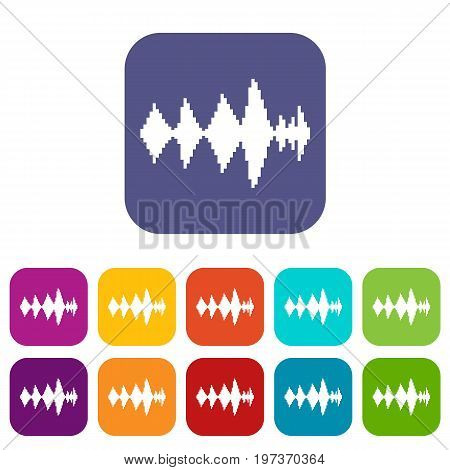 Audio digital equalizer technology icons set vector illustration in flat style in colors red, blue, green, and other