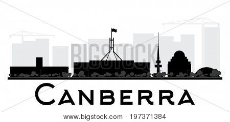 Canberra City skyline black and white silhouette. Simple flat concept for tourism presentation, banner, placard or web site. Business travel concept. Cityscape with landmarks