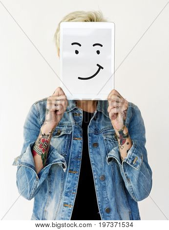 Illustration of smiley face on banner