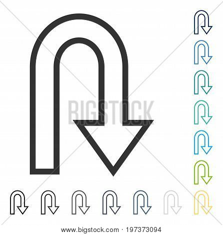 U Turn icon. Vector illustration style is flat iconic symbol in some color versions.
