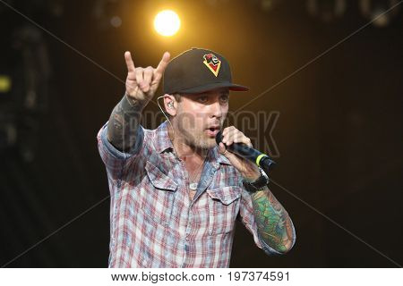 TWIN LAKES, WI - JULY 20: Singer Dallas Smith performs in concert at Country Thunder Music Festival on July 20, 2017 in Twin Lakes, Wisconsin.