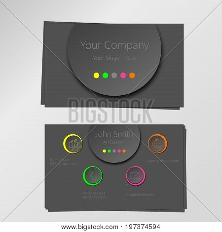 Colorful professional modern vector business card design template, circles in neon and grey shades with 3D effect.