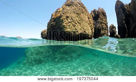 Half underwater close up, background split by waterline, Turkey, Mediterranean Sea