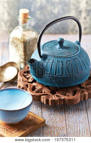 Traditional teapot and teacup