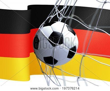 3d soccer ball in goal net on Ukrainian flag background