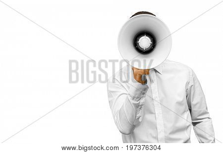 Businessman with megaphone in hand on the white background