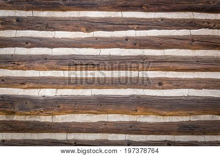 Abstract of Vintage Antique Log Cabin Wall.