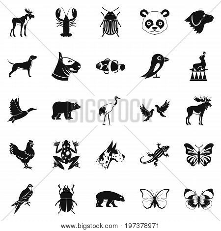 Forest animals icons set. Simple set of 25 forest animals icons for web isolated on white background
