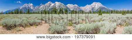 Pano of The Grand Teton National Park Mountain Range in Wyoming, USA.