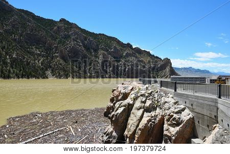 CODY, WYOMING - JUNE 24, 2017: Buffalo Bill Dam Reservoir on the Shoshone River in Wyoming.