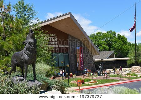 CODY, WYOMING - JUNE 24, 2017:  Wolf Statue. The artwork is on display at the Buffalo Bill Center of the West.