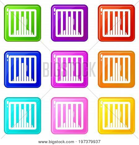 Man behind jail bars icons of 9 color set isolated vector illustration