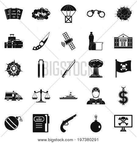 Antiterrorism icons set. Simple set of 25 antiterrorism icons for web isolated on white background