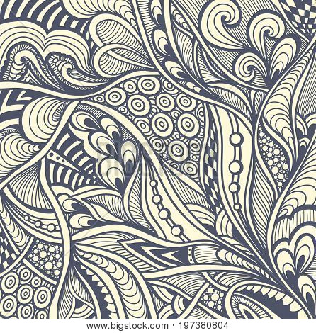 Abstract handmade Zen-doodle background black on white for coloring page or relax coloring book or for decoration different things