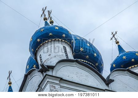 Background orthodox cathedral cupola close up christuanity