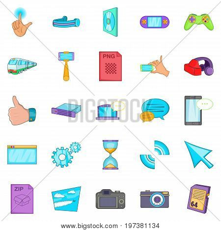 File sharing icons set. Cartoon set of 25 file sharing vector icons for web isolated on white background