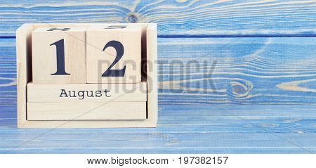Vintage Photo, August 12Th. Date Of 12 August On Wooden Cube Calendar