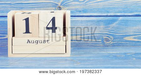 Vintage Photo, August 14Th. Date Of 14 August On Wooden Cube Calendar
