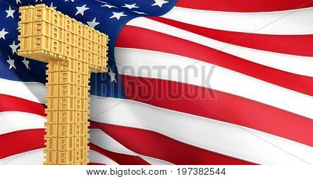 Letter T Of Lies In Front Of The American Flag 3D Illustration