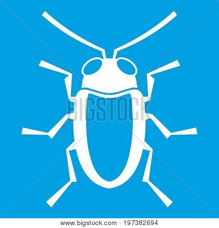 Longhorn beetle grammoptera icon white isolated on blue background vector illustration