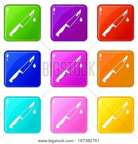 Steel knife icons of 9 color set isolated vector illustration