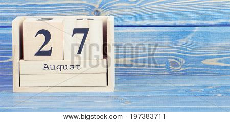 Vintage Photo, August 27Th. Date Of 27 August On Wooden Cube Calendar