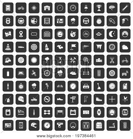 100 motorsport icons set in black color isolated vector illustration