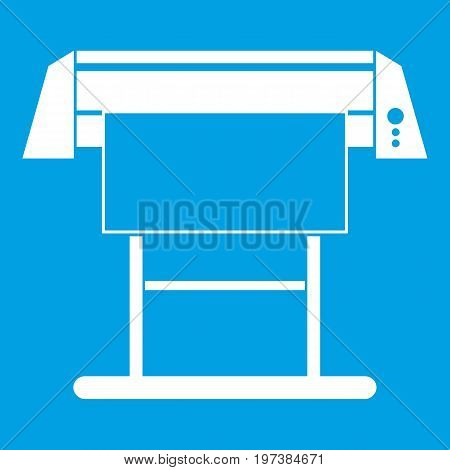 Large format inkjet printer icon white isolated on blue background vector illustration