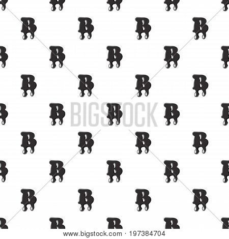 B letter isolated on white background. Black liquid oil B letter vector illustration