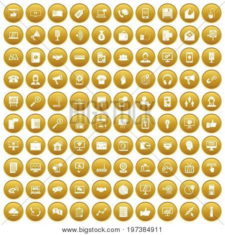100 help desk icons set in gold circle isolated on white vectr illustration