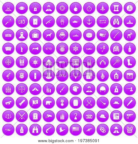 100 bullet icons set in purple circle isolated on white vector illustration