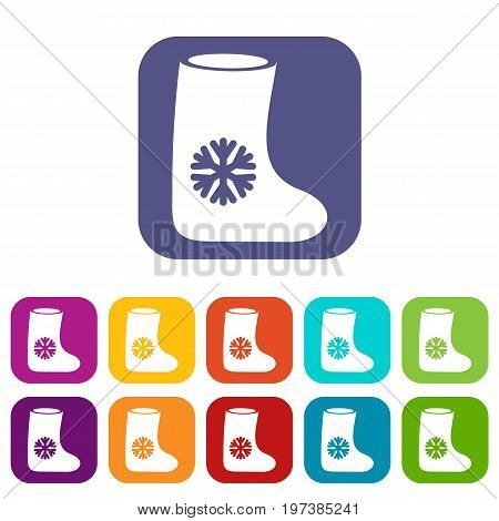 Felt boots icons set vector illustration in flat style in colors red, blue, green, and other