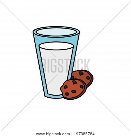 delicious milk with chocolate cookies vector illustration
