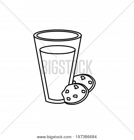 line delicious milk with chocolate cookies vector illustration
