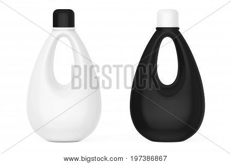White and Black Blank Plastic Bottles for Bleach Liquid Laundry Detergent or Fabric Softener on a white background. 3d Rendering.