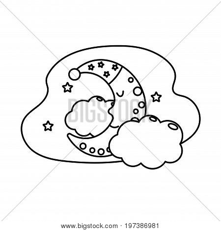 line cute moon with sleep hat design and clouds with stars vector illustration