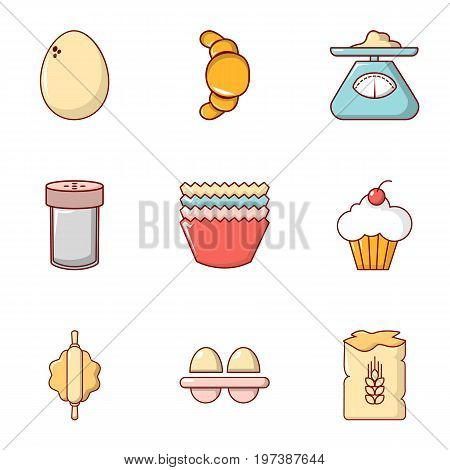 Rural food icons set. Flat set of 9 rural food vector icons for web isolated on white background